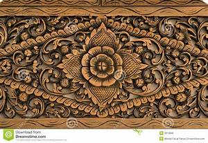 Pattern Of Rose Carved On Wood Stock Photo - Image: 3313898