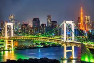 Rainbow Bridge and Tokyo Japan Skyline