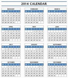 2014 year calendar With full year calendar template 2014