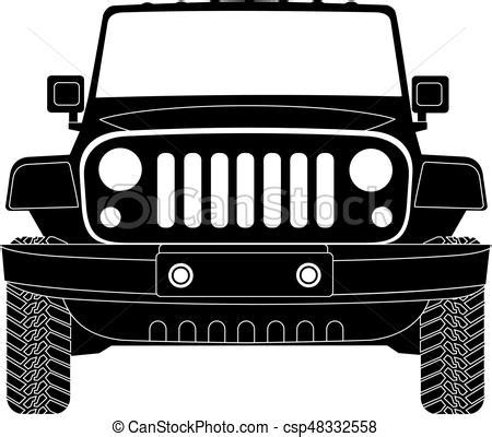 jeep front drawing jeep silhouette in front vector eps 10 clipart vector