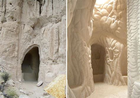 artist spends  years  desert carving giant cave