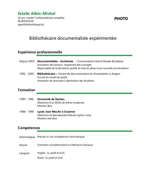 Cv De Travail Exemple by Exemple De Cv Biblioth 233 Caire Documentaliste