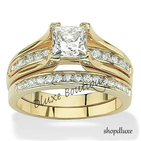14k gold plated wedding ring sets collection ebay