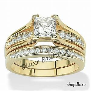 women39s 14k gold plated princess cut aaa cz wedding ring With wedding rings ebay sale