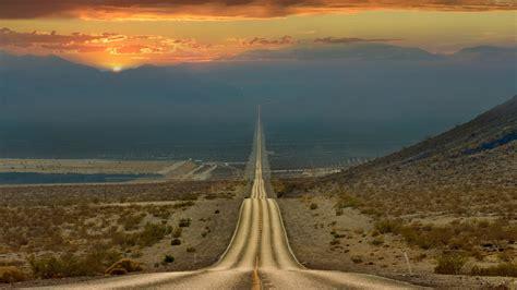 Hd Anime Landscape Wallpaper Death Valley Road Sunset Wallpaper Hdwallpaperfx