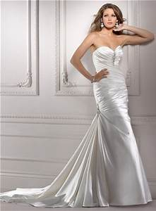 fit and flare mermaid sweetheart ruched satin wedding With satin fit and flare wedding dress