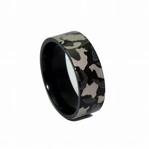 1 camo black ring laser engraved camouflage wedding band With black ring wedding