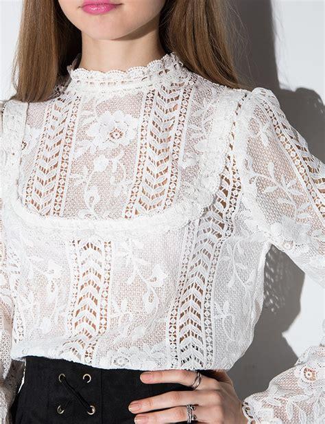 lace blouse lyst pixie market white floral lace blouse in