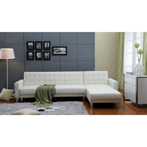 Leather Sleeper Sectional Sofa Bed by 2 White Tufted Bi Cast Leather Sectional Sofa Bed