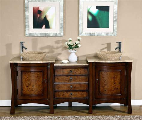72inch Modern Travertine Top Double Bathroom Vessel Sink
