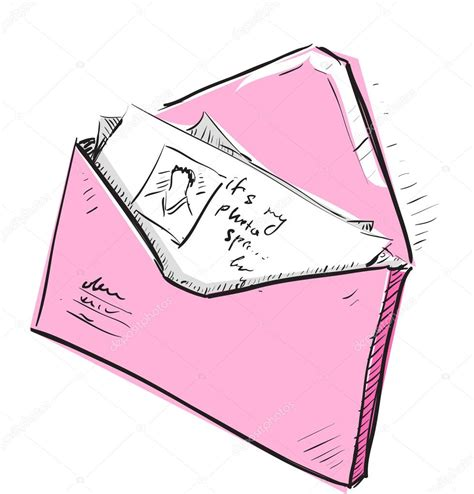 Letter and photos in pink envelope cartoon icon Stock