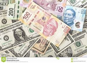 Dollar And Mexican Peso Bills Stock Image