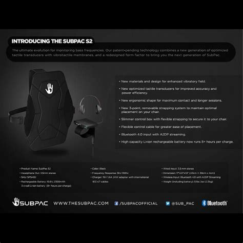 Get it as soon as wed, aug 11. SubPac S2 Seatback Tactile Bass System | SUBPAC