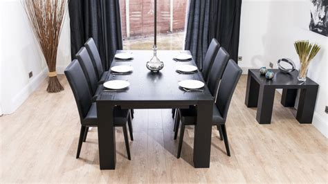 stylish large black ash wood extending dining set real