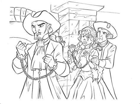 Will Turner And Elizabeth Swann Captured Coloring Pages