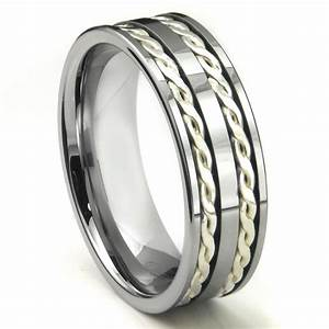 Tungsten carbide silver rope wedding band ring for Tungsten carbide wedding rings