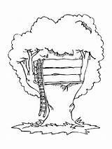 Treehouse Coloring Simple Colouring Luna Colorluna sketch template