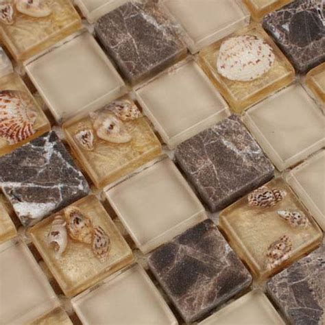 Light Gold Glass Mosaic Resin Conch Shell Marble Tile Wall