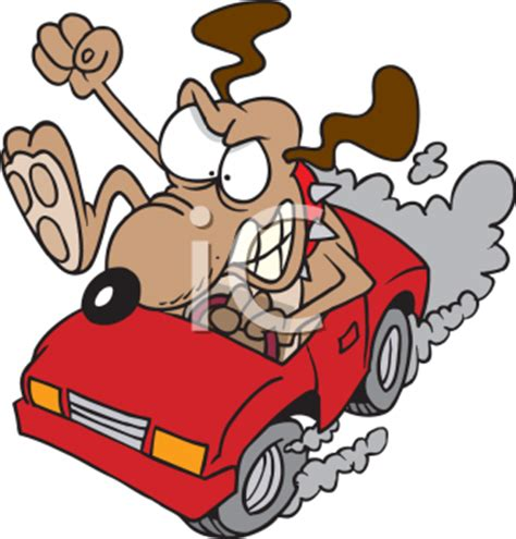 cartoon clipart picture   dog driving  race car