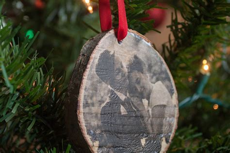 diy wood photo transfer ornament