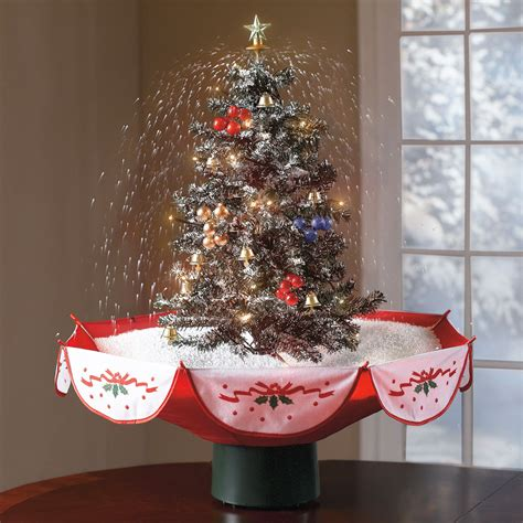 tabletop snowing christmas tree  green head