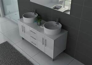 Meuble Blanc Salle De Bain : meuble de salle de bain blanc 2 vasques meuble de salle de bain blanc dis989b ~ Teatrodelosmanantiales.com Idées de Décoration