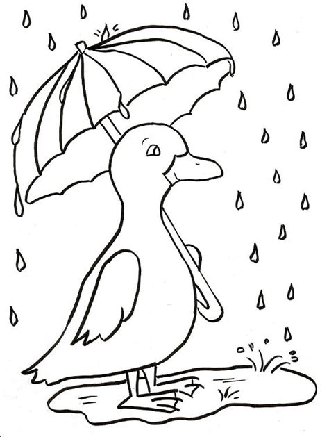 rainy days colouring pages