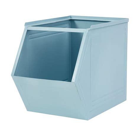 Caisse De Rangement Metal Caisse De Rangement Empilable En M 233 Tal Bleu Noxie Maisons Du Monde