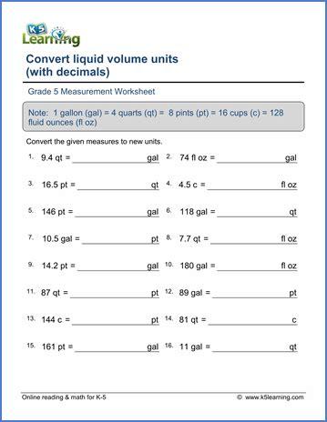 grade 5 math worksheet measurement converting liquid volume units with decimals k5 learning