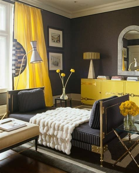 Yellow And Gray Wall Decor by 20 Chic Interior Designs With Yellow Curtains