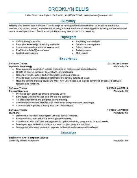 resume exles software trainer best software resume exle livecareer