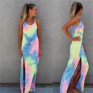 Tie Dye Side Slit Strap Maxi Dress from LOVE143
