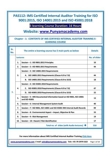 sample documents  ims auditor training  learning