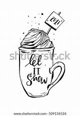 Vector Cream Coffee Whipped Ink Coloring Cocoa Mug Drawn Graphic Shutterstock Helterskelter Simple sketch template
