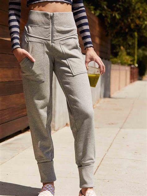 people   road pants grey cotton activewear
