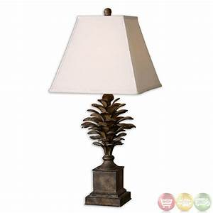 suzuha pine cone antiqued finish metal table lamp 27667 With pine cone metal floor lamp