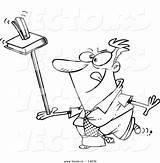 Ruler Cartoon Stapler Coloring Outline Balancing Vector Unproductive Businessman Toonaday sketch template