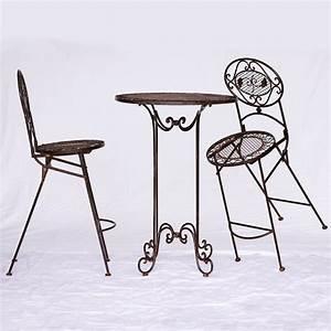 Gartenmöbel Set Metall Günstig : gartenm bel set metall braun 1 tisch 2 st hle barset bartisch barstuhl vintage ~ Whattoseeinmadrid.com Haus und Dekorationen