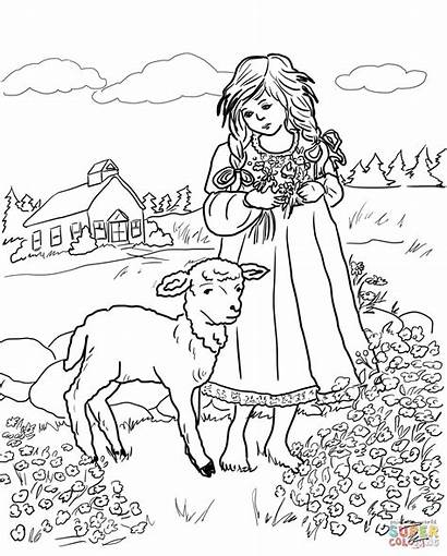 Lamb Mary Coloring Lion Had Pages Drawing