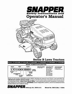 Snapper Lawn Mower Lt140h38bbv User U0026 39 S Guide