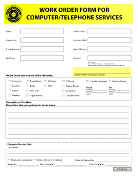 19885 work order form work order forms templates fillable printable sles