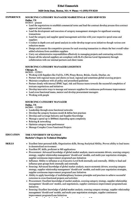 Categories Resume by Sourcing Category Manager Resume Sles Velvet