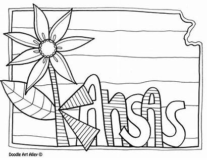 Kansas Coloring Pages State Symbols Sheets Doodle