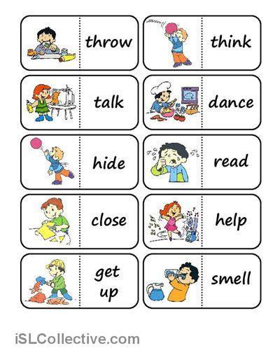 action words domino worksheet  esl printable worksheets   teachers efl pinterest