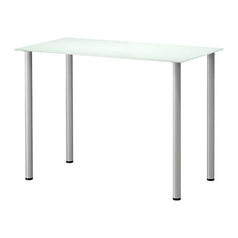 table bureau en verre glasholm adils table verre blanc couleur argent ikea