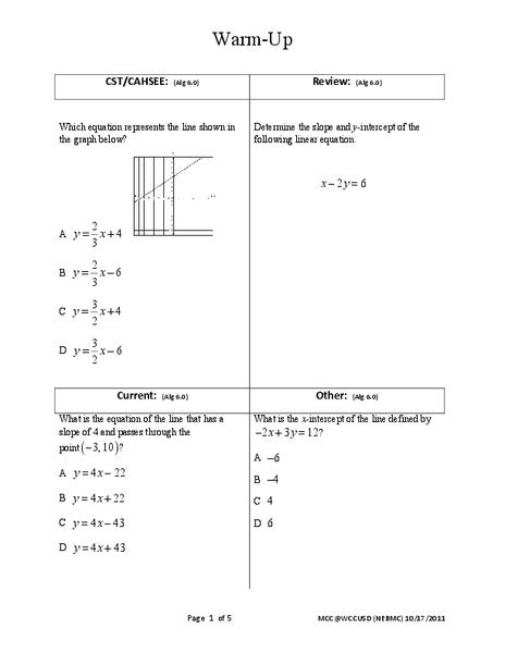 discovering slope of a line in standard form worksheet for 9th 12th grade lesson planet