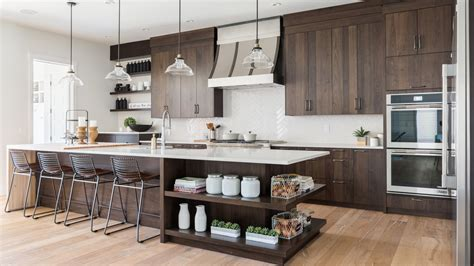 modern kitchen  walnut mdf ateliers jacob calgary