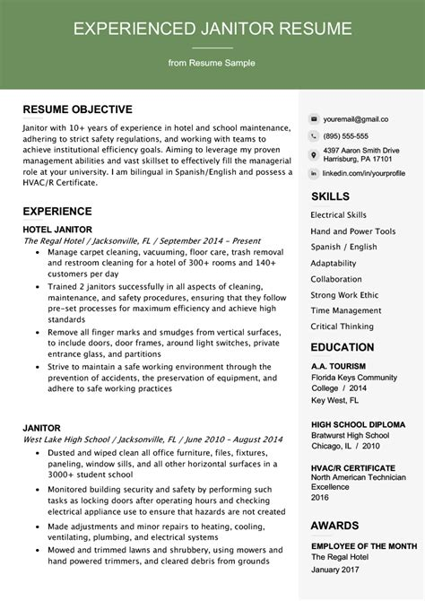 Janitor Resume by Professional Janitor Resume Sle Writing Tips Resume