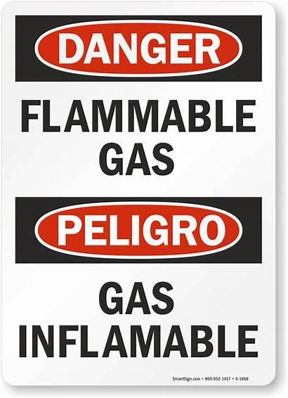 Gas Flammable Sign Inflamable Danger Peligro Bilingual