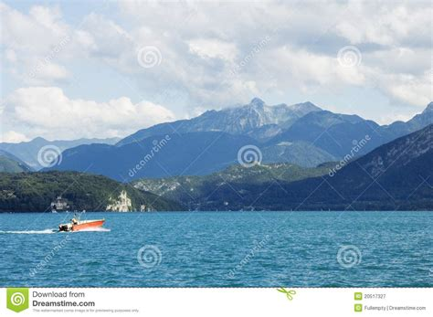 Boat Service Lake Annecy by A Motor Boat Crosses The Lake Annecy Stock Image Image